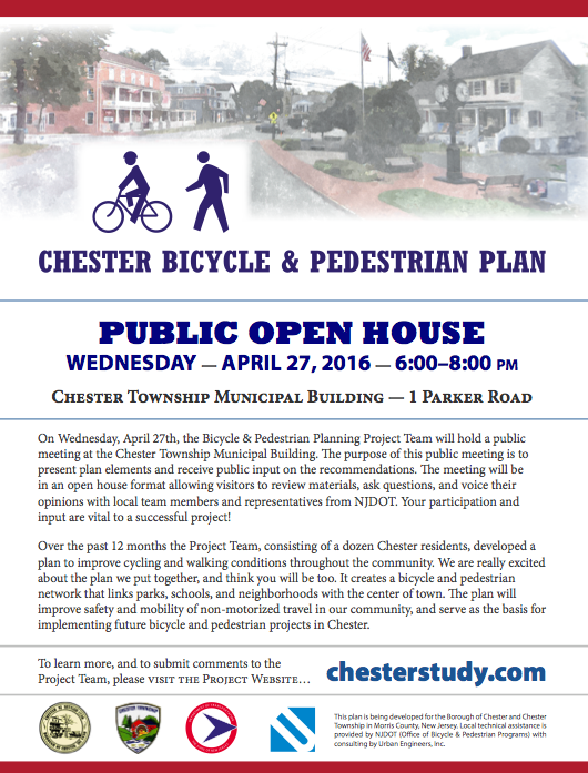 Bike/Pedestrian Planning Open House @ Chester Township Municipal Building