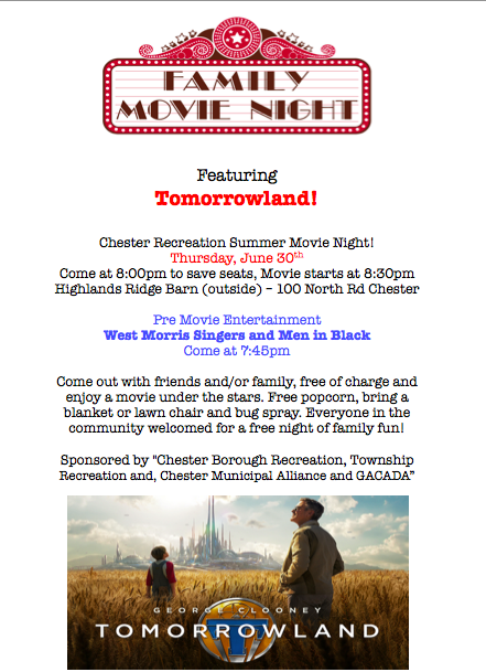 Family Movie Night-- Tomorrowland @ Barn at Highlands Ridge Park | Chester | New Jersey | United States