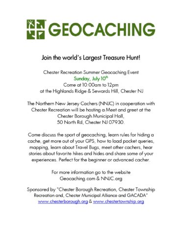 Geocaching Event at Boro Hall @ Chester Borough Hall | Chester | New Jersey | United States
