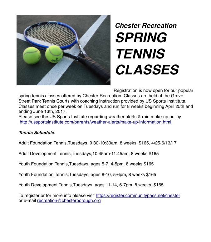 Spring Tennis Classes @ Grove Street Park | Chester | New Jersey | United States