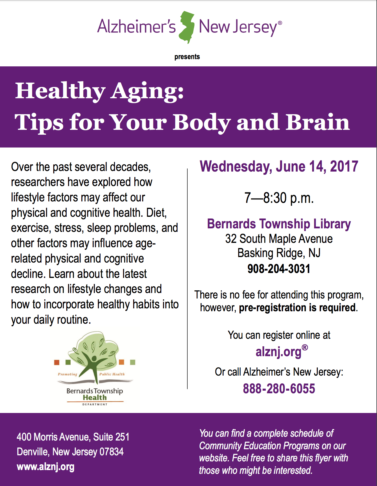 'Healthy Aging' seminar @ Bernards Township Library | Bernards | New Jersey | United States