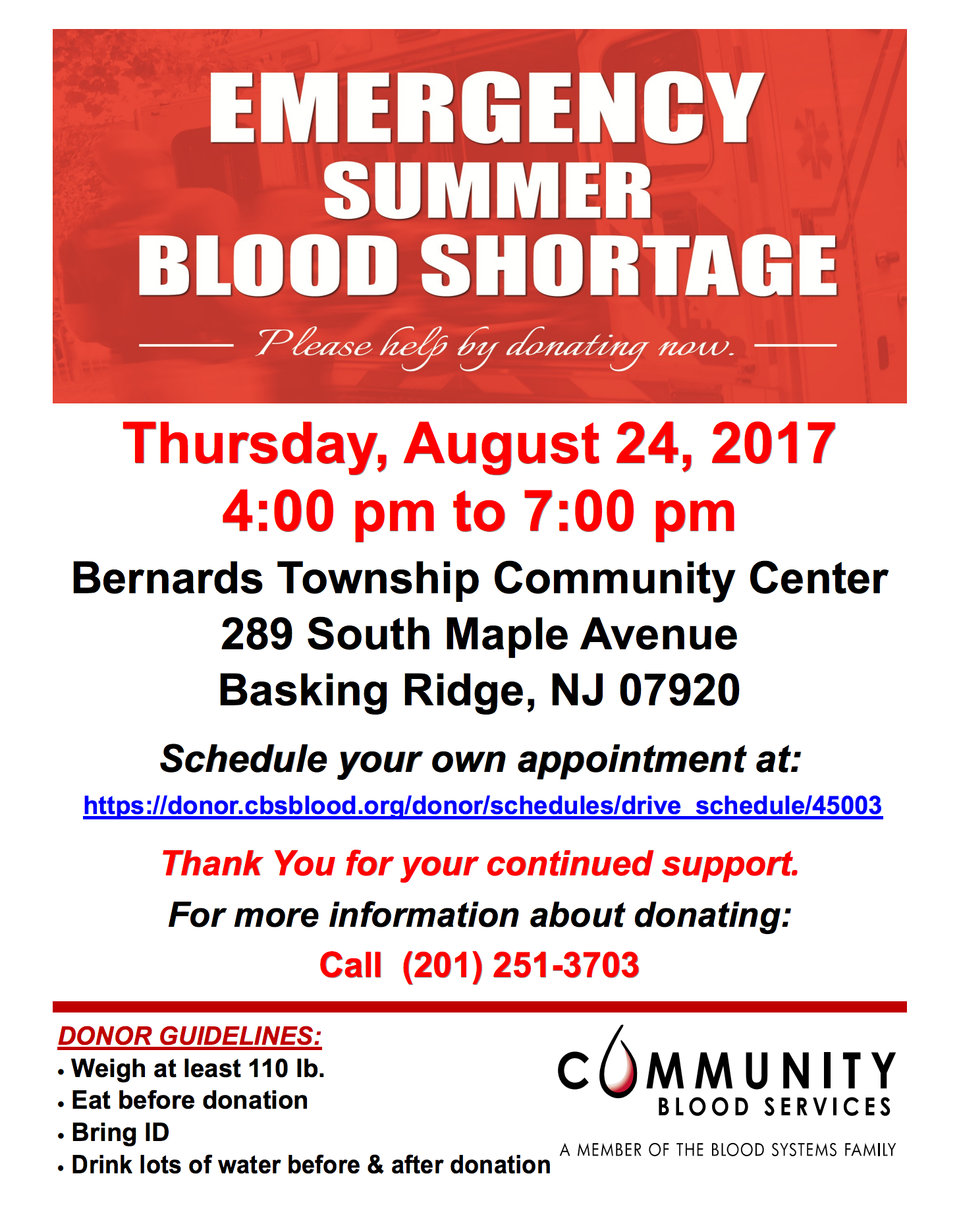 Blood Drive @ Bernards Township Community Center | Bernards | New Jersey | United States