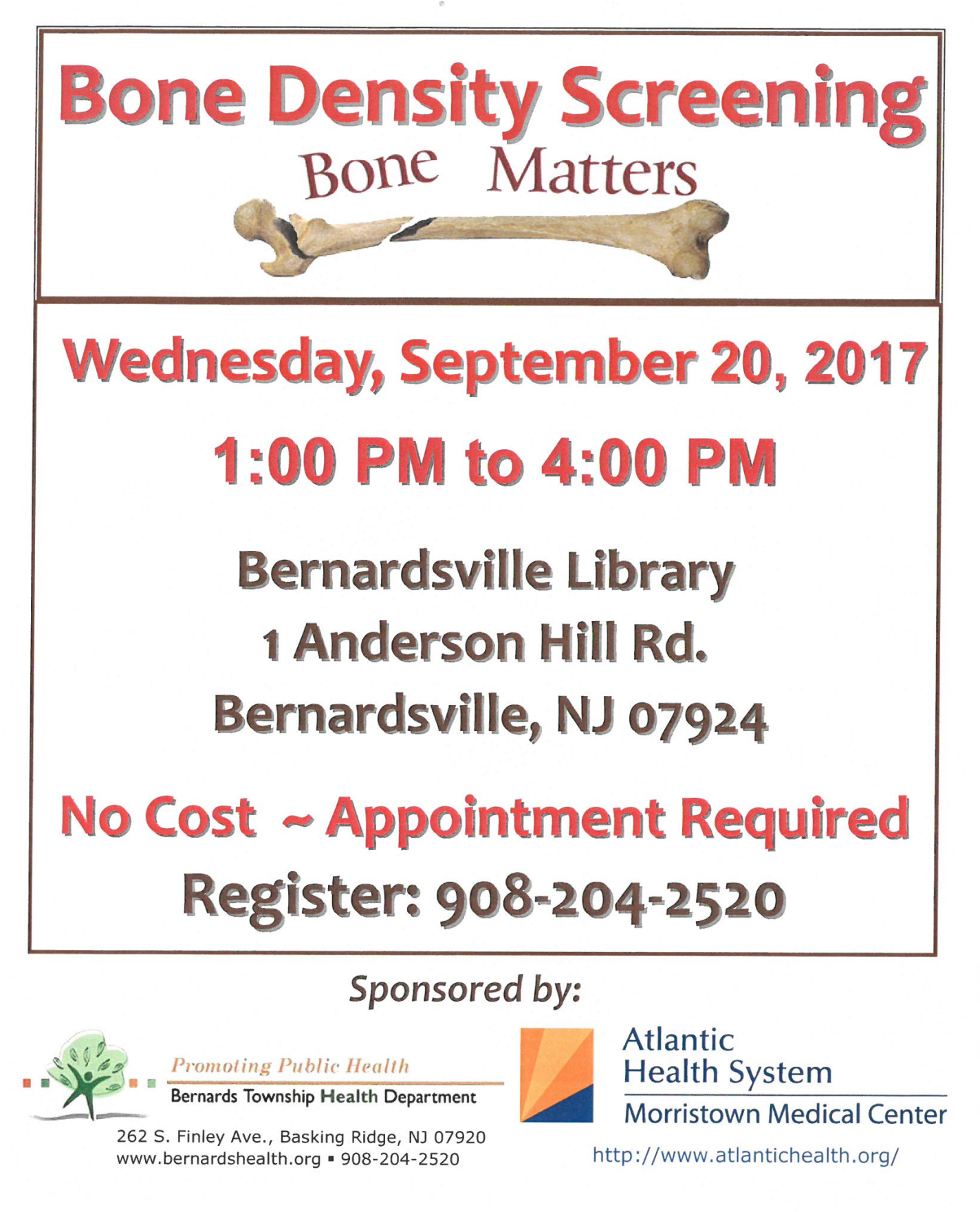 Bone density screening @ Bernardsville Library | Bernardsville | New Jersey | United States