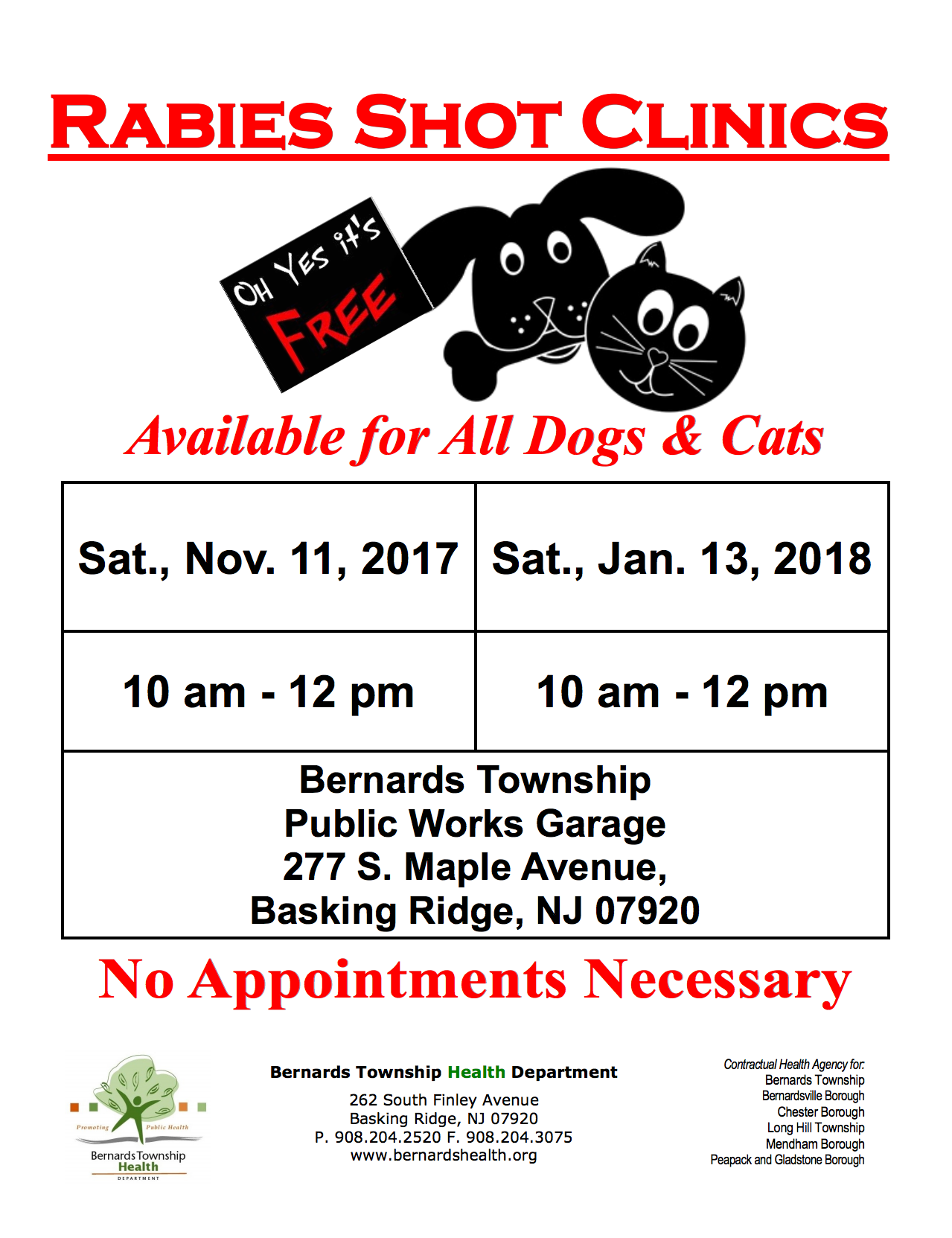 Rabies Clinic @ Bernards Township Public Works | Bernards | New Jersey | United States