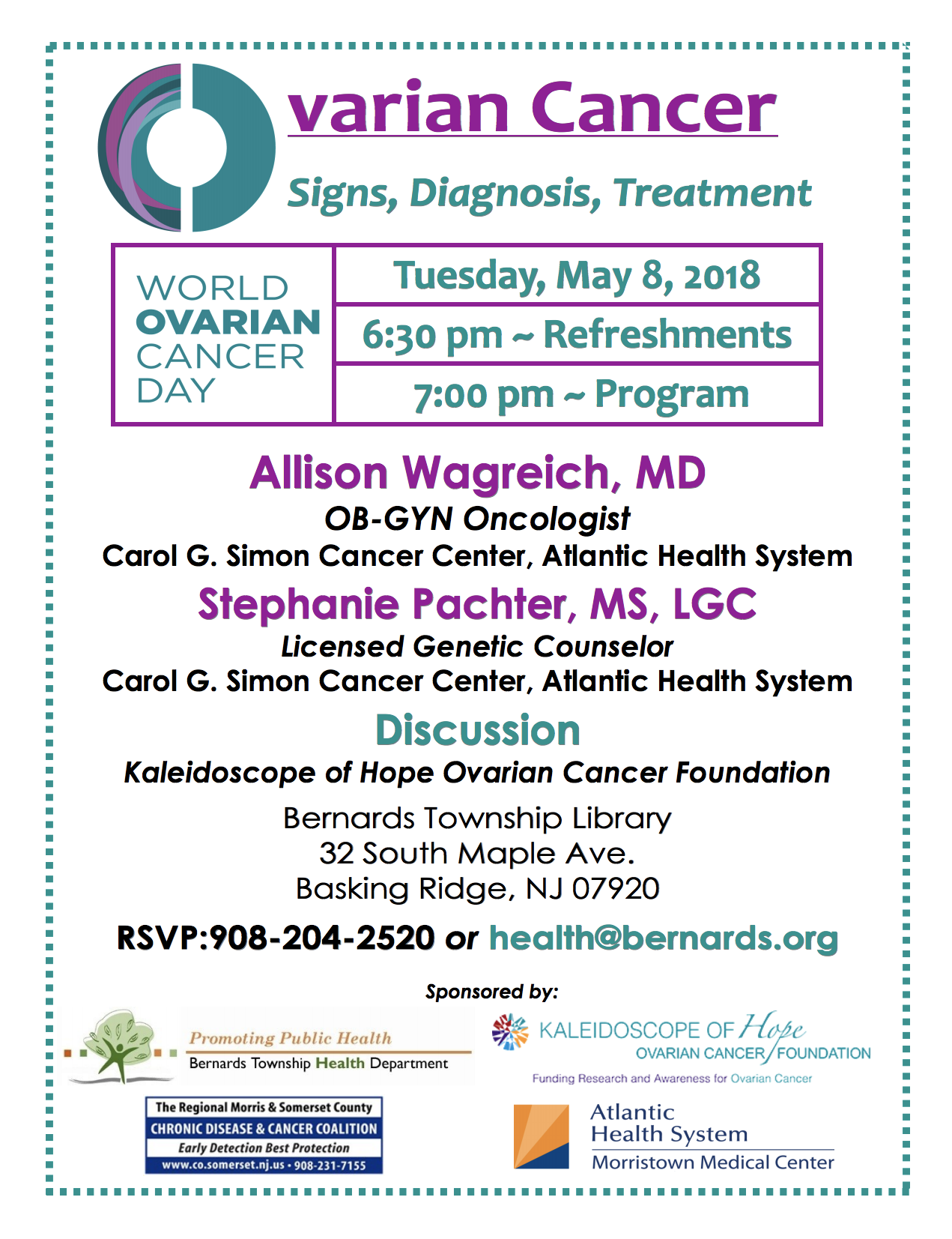 Ovarian Cancer seminar @ Bernards Twp Library | Bernards | New Jersey | United States