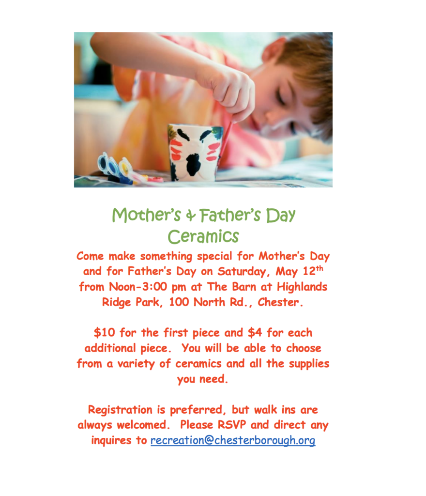 Mother's & Father's Day Ceramics @ Barn at Highlands Ridge Park | Chester | New Jersey | United States