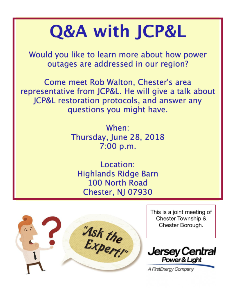 Public Meeting with JCP&L @ Barn at Highlands Ridge Park | Chester | New Jersey | United States