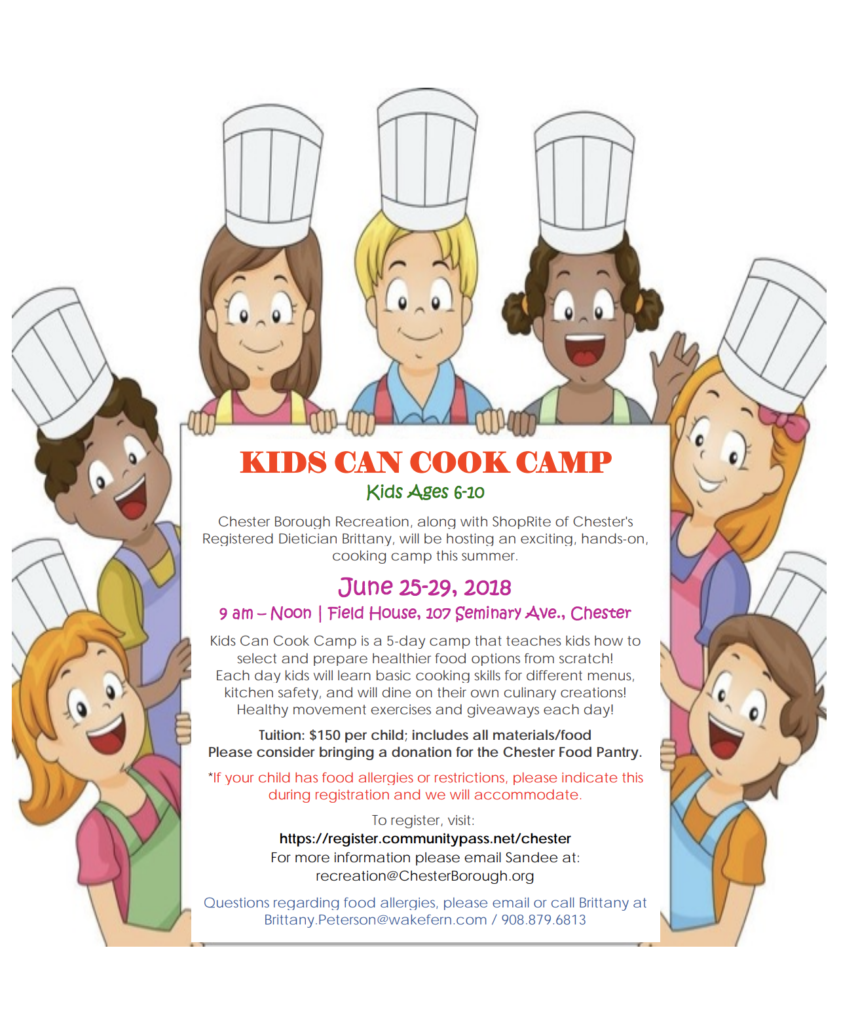 Kids Can Cook Camp @ Field House | Chester | New Jersey | United States