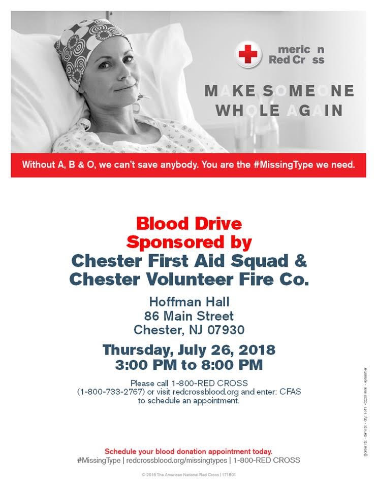 Blood Drive @ Chester Fire House | Chester | New Jersey | United States