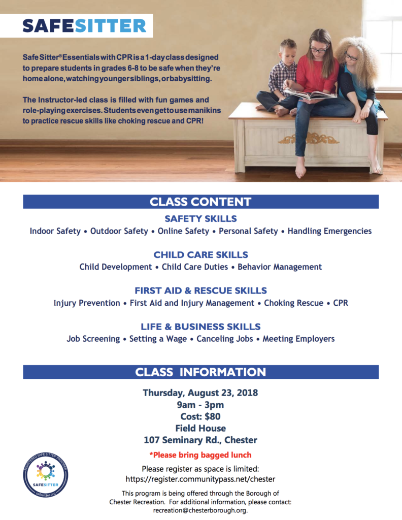 Safe Babysitting Class @ Field House | Chester | New Jersey | United States