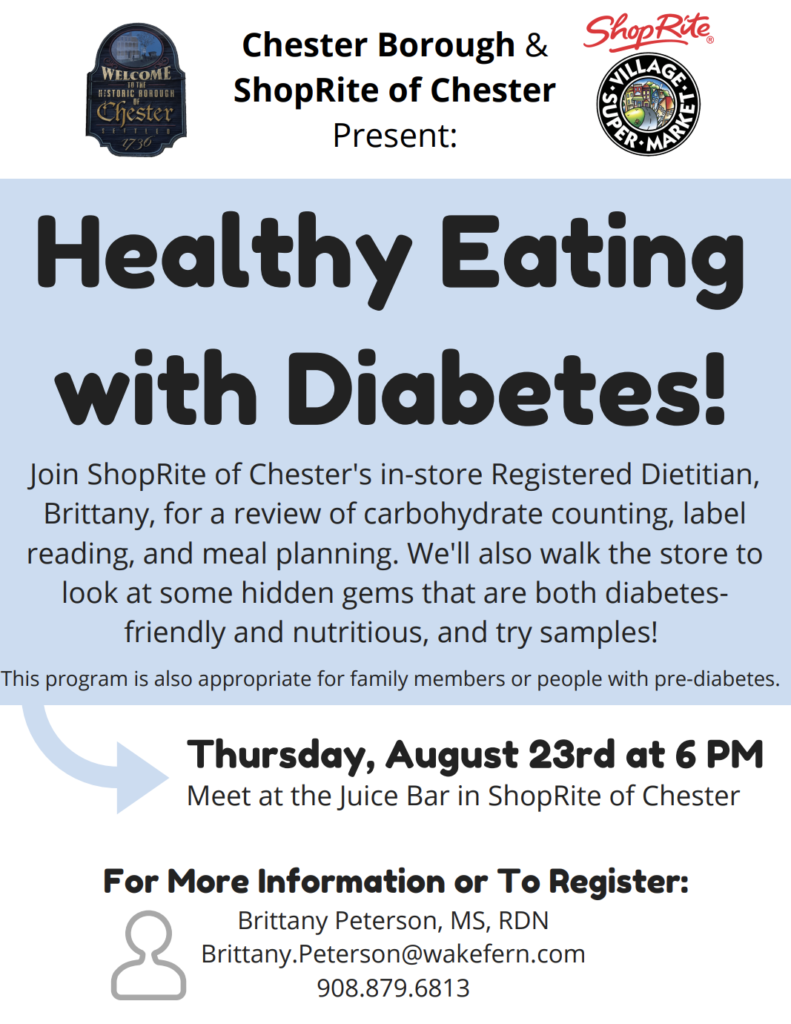 Healthy Eating with Diabetes @ ShopRite of Chester | Chester | New Jersey | United States